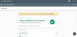 A preview of the results on Google Rich results Test - a free SEO tool for testing your eligibility for rich snippets.