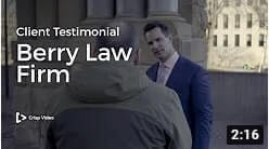 Thumbnail image of a lawyer's client testimonial YouTube video.