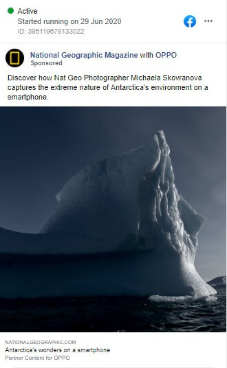 A mobile photograph by a Nat Geo Photographer, featured effectively in a Facebook Ad