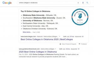 SEO results for the keyword 'Online Colleges In Oklahoma'
