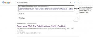 The top result on Google for the search query *E-commerce SEO*.