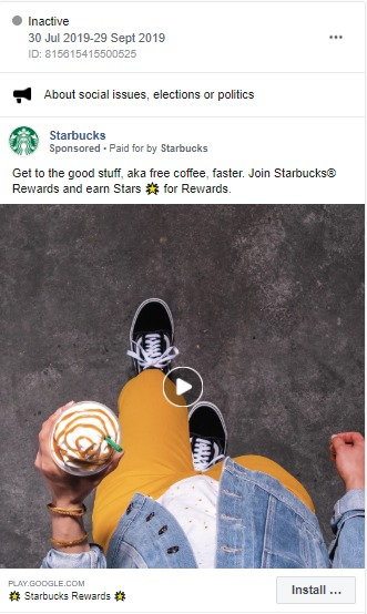 An effective Facebook ad by Starbucks with the conversion objective of App installs.