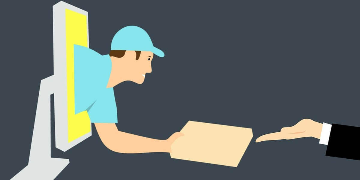 A cartoon character delivering products from a computer screen, referring to dropshipping where an e-commerce store receives orders for and delivers what it doesn't own.